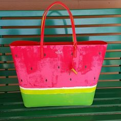 Kate Spade Watermelon Tote Gorgeous watermelon tote for summer! Made of soft genuine leather. $210 free shipping through PayPal. kate spade Bags Totes