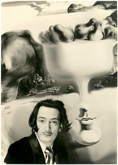 SALVADOR DALI....... in front of his painting Apparition of Face and Fruit Dish on a Beach (1938-39)............ Circa 1940.......photo by w.vennemann...........SOURCE LAMELANCOLIE.TUMBLR.COM.................