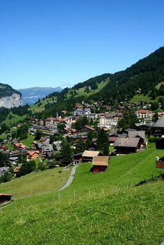 Wengen, Switzerland-  So beautiful! My Home Rainhus lower left below maple tree!