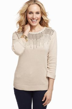 Add a touch of shine with our embellished sweater this fall! #christopherandbanks #cjbanks #CBFAllFavorites