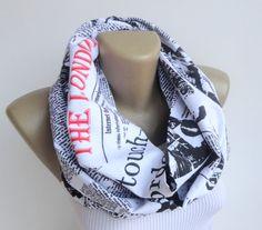 London scarf book scarf / newspaper scarf / women by senoAccessory, $19.00