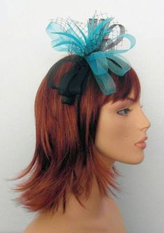 Aqua Blue  Black Mesh Bow Hair Fascinator with Net  Feathers on slim headband