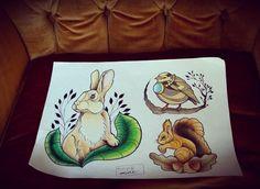 #bunny #bord #squirrel #tattooflash