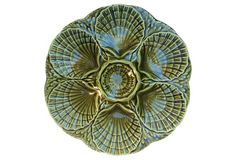 French Majolica Shell Oyster Plate