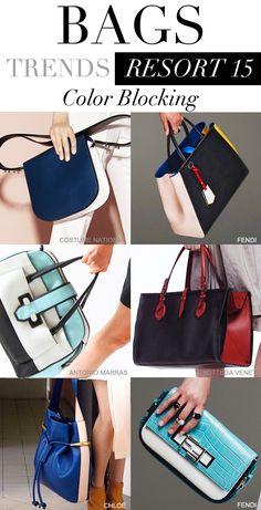 colorblocked handbags for resort 2015 #trendforecasting #trendcouncil