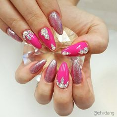 Pink lovers nails! Pink nail design , diamond nails