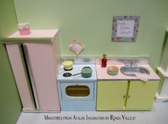 1:12th Scale Miniature dollhouse Kitchen Appliance set in Vintage pastel colors - inspired by Cath Kidston style