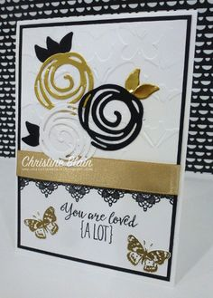handmade card from  HAPPY HEART CARDS ... black and white with gold ... Swirly Bird die cut flowers ...  Stampin' Up!