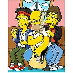 The Simpsons (TV Series 1989 - ) 8 inch by 10 inch) PHOTOGRAPH Homer Seated w/Rolling Stones kn