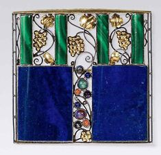 Josef Hoffmann-designed brooches that sold at Kinsky in Vienna. This example in silver, gold, lapis lazuli, malachite and semi-precious stones was designed in a form similar to the façade of the Palais Stoclet, a large house in Brussels, designed by Hoffmann and considered to be his architectural masterpiece.