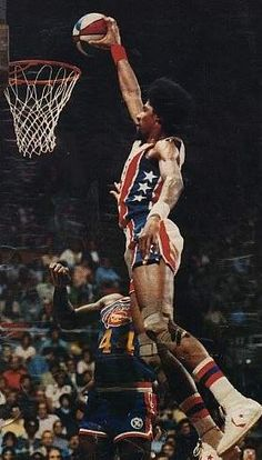 "J"" - UltimateNBA. While Connie Hawkins, ""Jumping"" Johnny Green, Elgin Baylor, and Gus Johnson performed spectacular dunks before Erving's time, ""Dr. J"" brought the practice into the mainstream. His signature dunk Sport Basketball, Basketball Socks, Basketball Pictures, Basketball Legends, Love And Basketball, Basketball Leagues, Basketball Players, Basketball Skills, Slam Dunk"