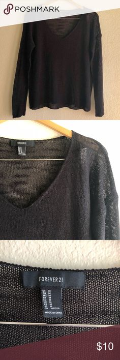 Forever 21 V-neck sweater Forever 21 slub knit v-neck sweater. Light knit that is slightly sheer. Relaxed fit. Gently used. Great for layering this season!    ***If you have ANY questions at all - measurements, fabrication, item condition, etc. - PLEASE ASK 👍 It's important to me, that you, as the customer, are 100% clear about the product you are purchasing. Happy to answer ANY questions big or small! Forever 21 Sweaters V-Necks