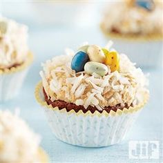 Bird's Nest Cupcakes with Peanut Butter Frosting from Jif�