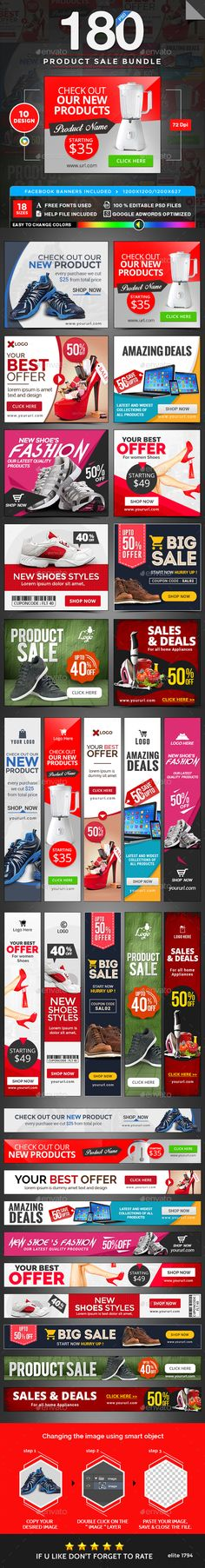 Product Sale Banners Design Template Bundle - 10 Sets 180 Banners - Banners & Ads Web Elements Template PSD. Download here: https://graphicriver.net/item/product-sale-banners-bundle-10-sets-180-banners/17741058?s_rank=10&ref=yinkira