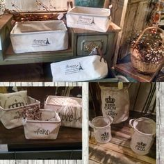 3 piece canvas and burlap storage bins. $24.99 a set. #cherisheverymoment #upcycling #homedecor