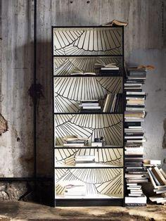 DIY wallpaper an IKEA BILLY bookcase.