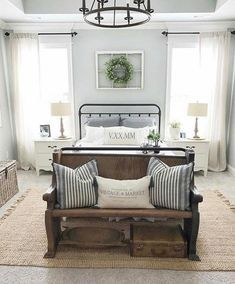 21 Rustic Farmhouse Bedroom Decor Inspiration Ideas We are working on a bedroom makeover and I found 21 amazing rustic farmhouse bedrooms for decor inspiration. Check out the post to see them all. Farmhouse Style Bedrooms, Farmhouse Master Bedroom, Farmhouse Style Curtains, Farmhouse Bedroom Furniture, Country Bedrooms, Rustic Bedrooms, Rustic Industrial Bedroom, Farmhouse Curtain Rods, Shabby Chic Master Bedroom