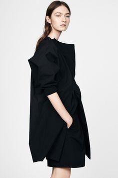 Jil Sander Resort 2015 #minimalist #fashion #style black draped dress