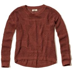 Hollister Open-Stitch Pullover Sweater ($45) ❤ liked on Polyvore featuring tops, sweaters, hollister, dark orange, hollister co. sweaters, open-stitch sweaters, red sweater, crew sweater and sweater pullover