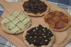 mini pizzas -- roasted veggies, kale pesto or seitan slices with daiya