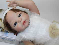 92.99$  Buy now - http://aliq63.worldwells.pw/go.php?t=32409639536 - 23Inch Reborn Baby Doll Full Silicone Vinyl Realistic Baby Girl Fashion Baby Alive Dolls Kid Best Playmate