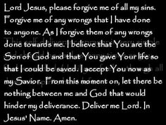 A Simple Self Deliverance Prayer