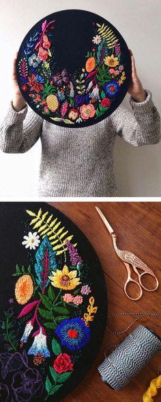 Lush floral art by Jo Jiménez // floral embroidery // mixed media art