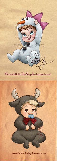 Baby Anna and Baby Kristoff - by moonchildinthesky