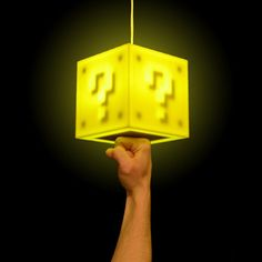 Mario coin block lamp. Punch the bottom to turn it on and off