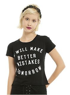 """<p>Guys, everyone makes mistakes. The important thing is that you learn from them. Black crop tee with white text design that reads """"I Will Make Better Mistakes Tomorrow."""" Always improving.</p>  <ul> <li>60% cotton; 40% polyester</li> <li>Wash cold; dry low</li> <li>Imported</li> <li>Listed in junior sizes</li> </ul>"""