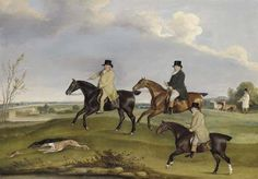 Mr. Jeremiah Whitehead, Mr. Cawlishaw, and Mr. Yates coursing in a landscape<BR> signed and dated 'T.Weaver.Pinxit.1818.' (lower centre) <BR> oil on canvas <BR> 42 x 60 1/4 in. (106.7 x 153 cm.)