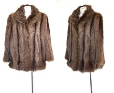 1950s Racoon Fur Coat Vintage Striped Fur Jacket Brown and Gray  L to XL