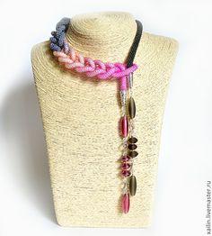 """Купить Лариат """"Аврора"""" жгут из бисера розовый серый - жгут, жгут из бисера, вязанный жгут"""