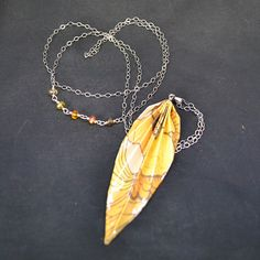 Yellow paper origami leaf pendant necklace on sterling silver chain