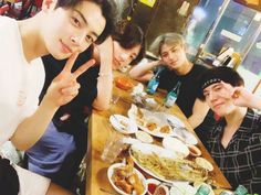BTS's Jungkook met up with line' friends Cha Eun Woo, Mingyu, and Yugyeom once again.On July Jungkook shared the b… Youngjae, Got7 Yugyeom, Jung Kook, Jinyoung, Suho, Foto Bts, Kpop Wallpaper, Dark Wallpaper, Theme Bts
