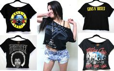 Rock & Roll Cropped & Off Shoulder Top Metal Rock Band Shirts Metallica Guns VH #Handmade #GraphicTee