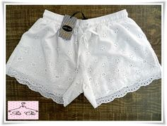 Short Laise...fofo! - Poá Chic Loja de Roupas Femininas Diy Shorts, Lace Shorts, Simple Dresses, Short Dresses, Casual Outfits, Girl Outfits, Kids Clothes Sale, Baby Dress Design, Chor