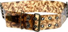 Brown wide vinyl belt from Lanvin featuring patterned design with metal buckle.