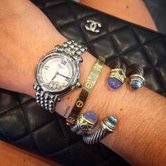 Arm Party 🎉 Shop all handbags, shoes & accessories on www.mymoshposh.com! #Chanel #cc #Chanelclutch #chopard #chopardwatches #cartier #cartierlovebracelet #davidyurman #yurmanbangles #designerjewelry #bagsofTPF #armcandy #luxury #fashion #trendy #moshposhfinds #mymoshposh #designerconsignment