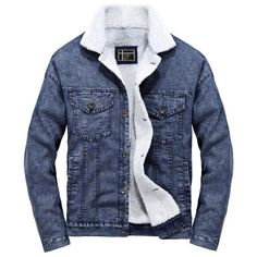 Shop a great selection of Lavnis Men's Casual Denim Jacket Winter Slim Fit Button Down Jeans Coat. Find new offer and Similar products for Lavnis Men's Casual Denim Jacket Winter Slim Fit Button Down Jeans Coat. Fleece Denim Jacket, Denim Jacket Men, Denim Coat, Denim Jackets, Bomber Jackets, Jean Jackets, Winter Overcoat, Denim Fashion, Fashion Coat