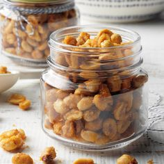 With a caramel-like coating and a touch of heat from the hot sauce, these crunchy peanuts make a tasty anytime snack. —Taste of Home Test Kitchen Nut Recipes, Slow Cooker Recipes, Cookie Recipes, Crockpot Recipes, Food Stands, Football Food, Game Day Food, Sweet And Spicy, Yummy Snacks