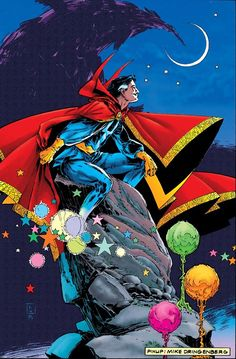 Doctor Strange Pinup art by Mike Dringenberg. Doctor Strange Comic, Doc Strange, Strange Art, Strange Magic, Marvel Comic Character, Comic Book Characters, Marvel Characters, Comic Books, Marvel Vs