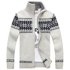 Winter Warm Thick Stand Collar Sweater Mens Casual Knitted Zipper Jacquard Cardigans