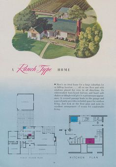 A Ranch Type Home Page 20 of a 1944 brochure brought to you by the Nash-Kelvinator Corp.