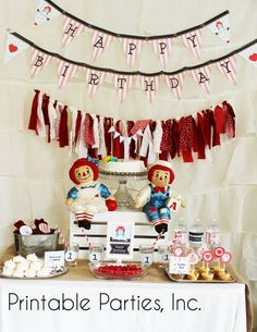 Raggedy Ann Printable Birthday Party Set by PrintablePartiesInc 36th Birthday, Happy Birthday Parties, Twin Birthday, Birthday Bash, Birthday Ideas, Twins 1st Birthdays, Raggedy Ann And Andy, Thing 1, Party Signs