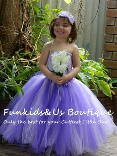 Purple and Lavender Flower Girl Long Dress by FunkidsandUsBoutique, $38.76