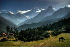 any-where:    julie911:    From The World We Live In:    Tengboche, Himalayas, Nepal © mselam    Tengboche is a village in the Khumbu region of eastern Nepal, located at 3,867 meters. Tengboche has a panoramic view of the Himalayan mountains, including the well known peaks of Tawache, Everest, Nuptse, Lhotse, Ama Dablam, and Thamserku.      (via theworldwelivein)