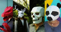 Marianne and Steve over at Wintercroft (previously) spent the last year dreaming up several new geometric paper masks that you can download as DIY templates. Last year they just had a handful of great designs, but now they have over 50, some of which have multiple components and even moving parts li