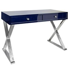 Worlds Away Jared Navy and Stainless Steel Desk http://www.plumgoose.com/worlds-away-jared-navy-and-stainless-steel-desk.html