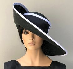 Kentucky Derby Hat, Women's Derby Hat, Ladies Formal Wide Brim Hat, Women's Black and White hat, elegant hat